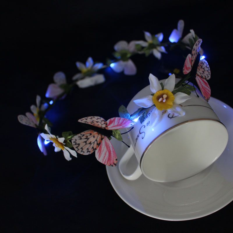 Orchid LED light up flower crown with there color changing - LED hair accessory - Dongguan Duosen Hair Accessory Co.,LTD