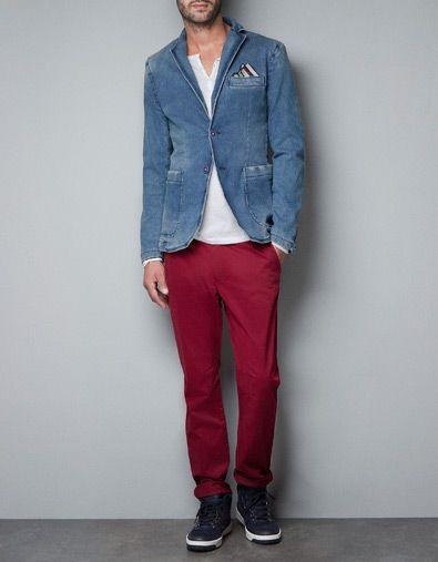 BLAZER DENIM LAVADA Blazers Hombre ZARA | Menswear
