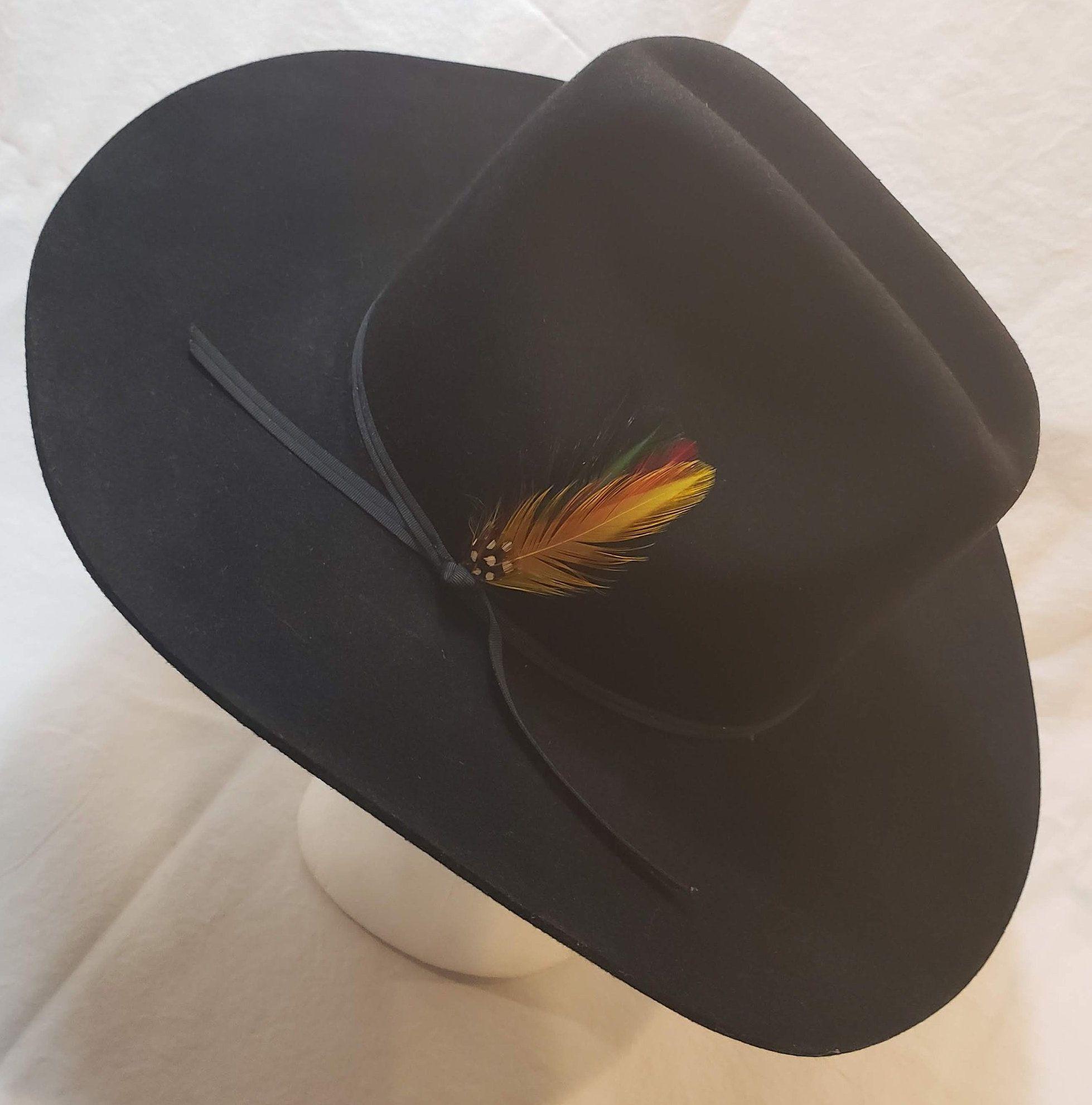 b714ce80696 Vintage Stetson 4X Beaver Black Fur Felt Western Hat Size 56cm Cowboy