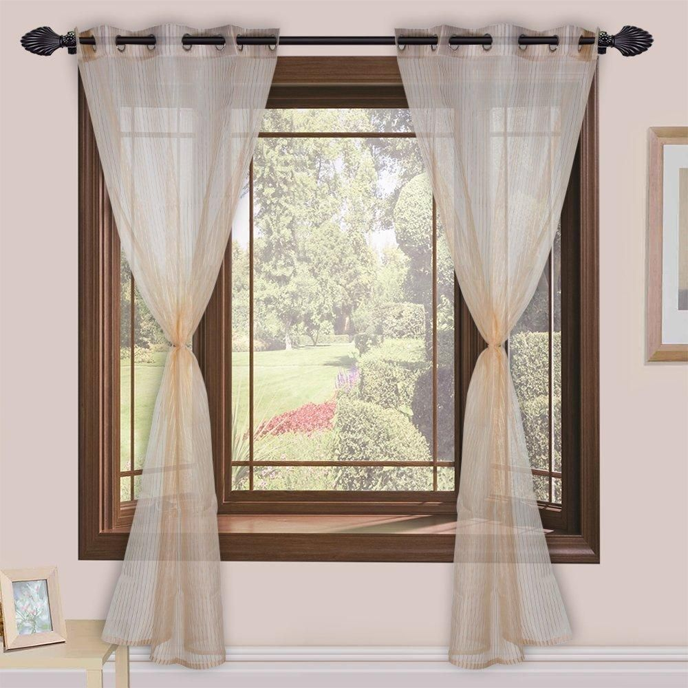 Tissue Plain Modern 2 Piece Eyelet Polyester Long Door Curtain Set