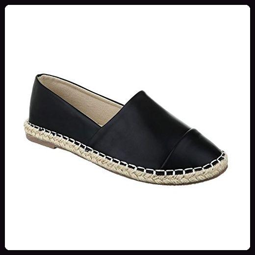 Bequeme Sommer Damen Espadrilles Slipper Flats Sandalen Freizeit Schuhe 732 (36, Schwarz 2)
