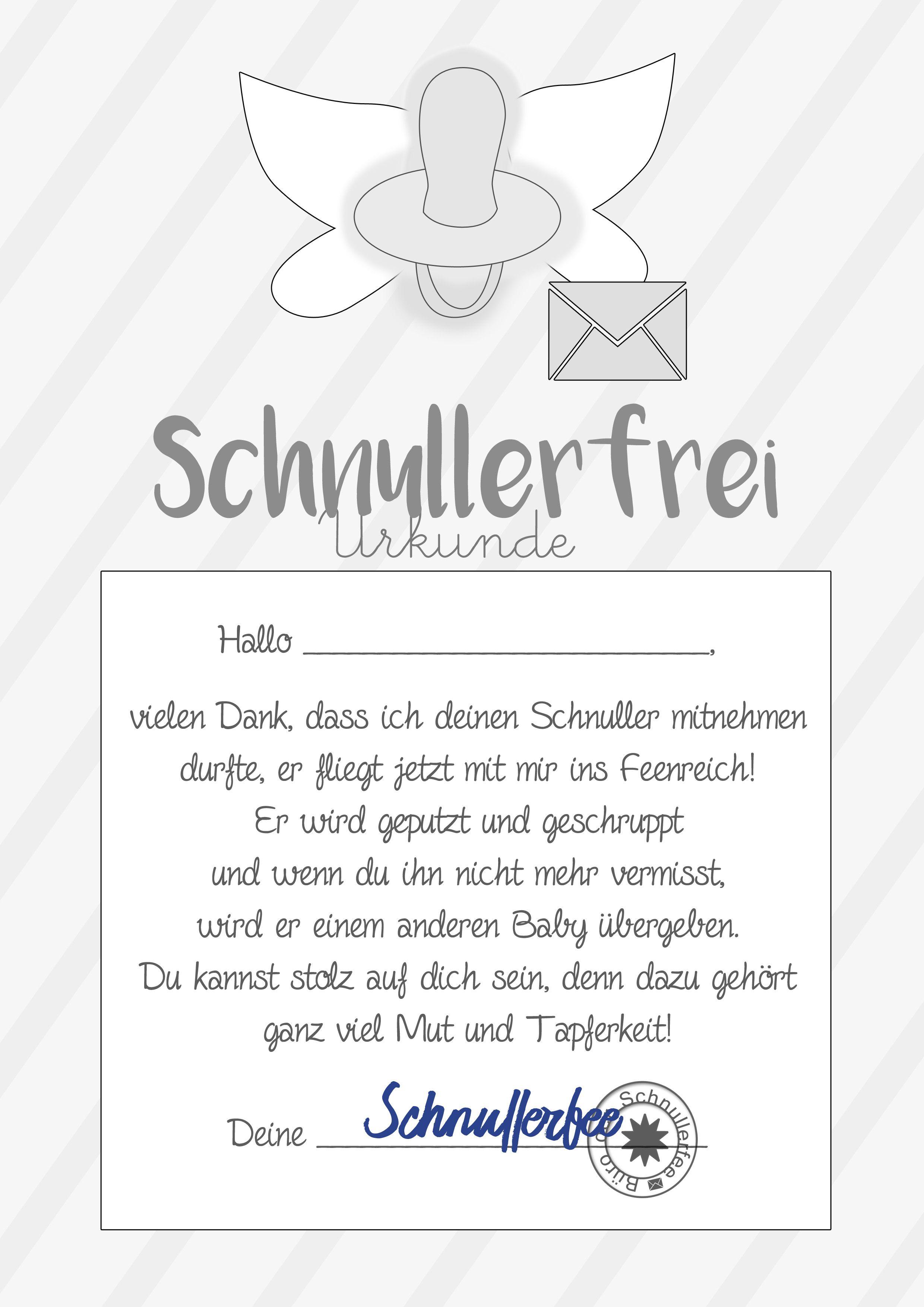 Schnullerfee Brief Vorlage Zum Ausdrucken Kita Einschulung Baby