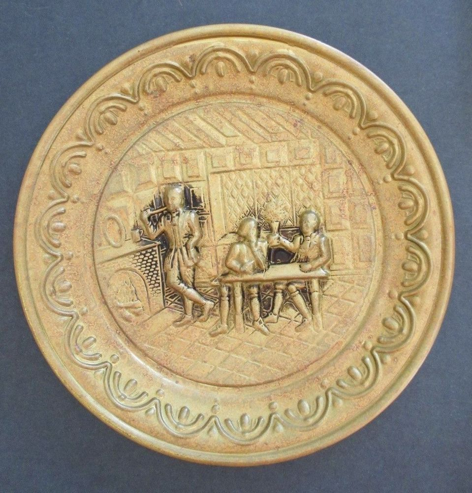 Vintage English Decorative Wall Plate Plaques Goldtone metal Pub ...