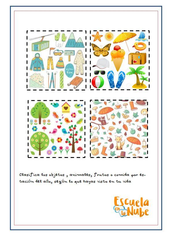 Estaciones Del Ano Primavera Verano Otono Invierno Fichas Infantil Estaciones Del Ano Estacionamiento Anos