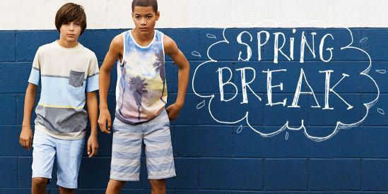 Spring break looks for girls and boys.