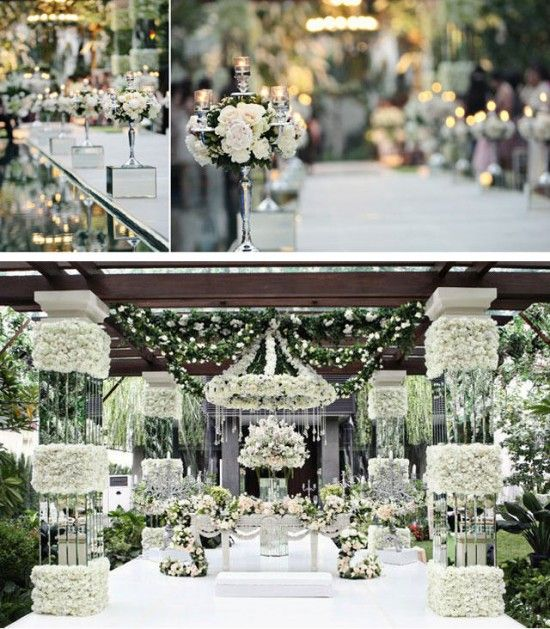 Italian classic white grand wedding decorationsOMGoodness the