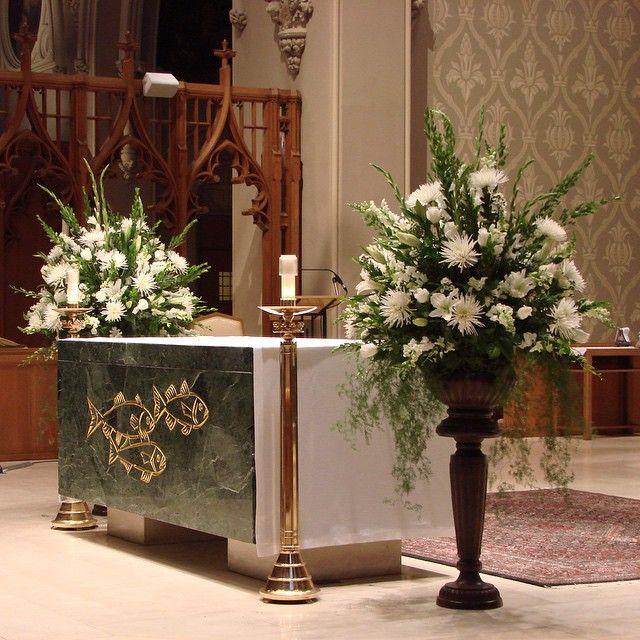 Church Altar Arrangements Wedding Flowers Gladiolas: #c2mdesigns #floral #floraldesign #arrangement #urn