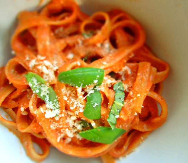 Pasta with Tomato Cream Sauce. A luxurious yet simple summer Sunday afternoon pasta dish- Thank you Carol of Milk & Mode.