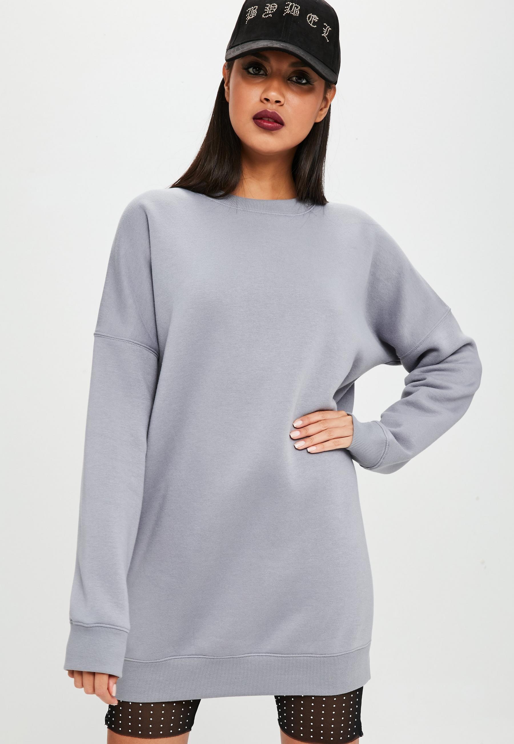 Carli Bybel X Missguided Gray Oversized Sweatshirt Dress Missguided Size Medium Grey Sweatshirt Dress Women Dress Online Oversized Jumper Dress [ 2607 x 1800 Pixel ]