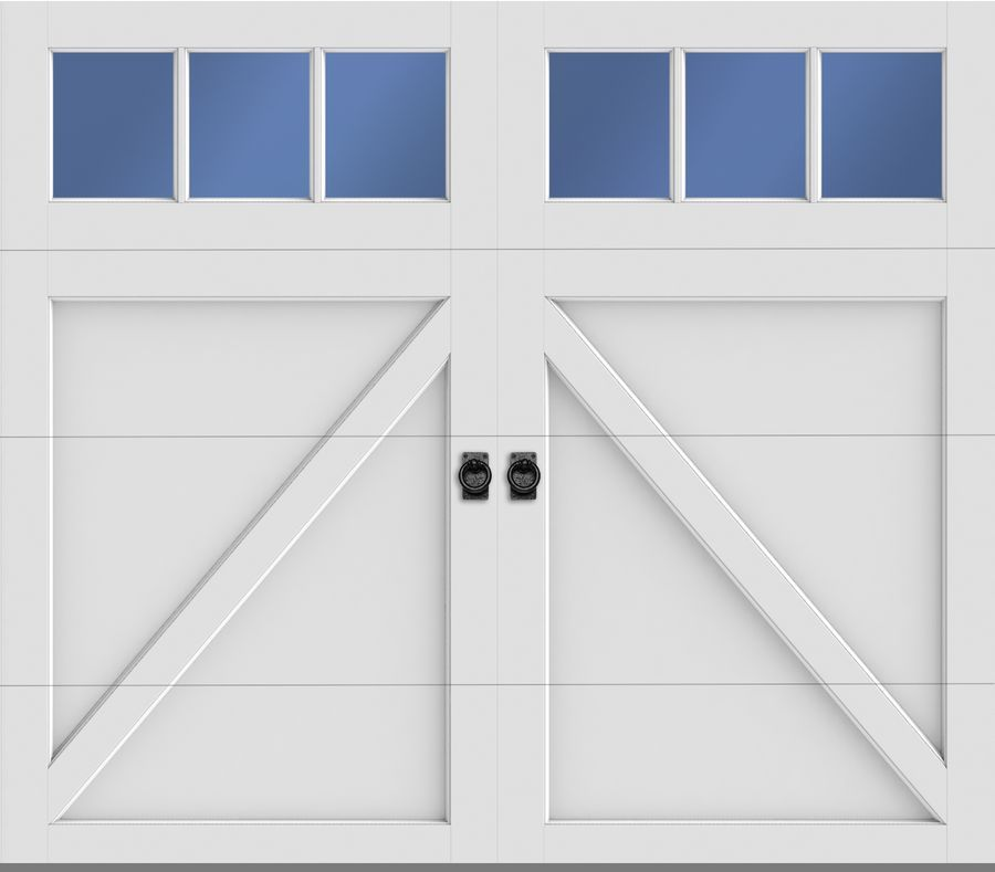 Amarr Garage Door Carriage Court Series Door Design: Seabrook Windows: 3  Lite Square Color: True White/White Construction*: Carriage Court CC4000  Decorative ...