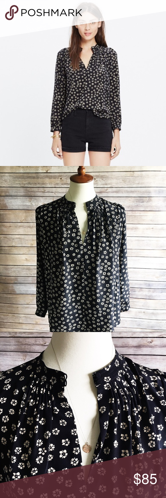 f5a2b285918e2d NWT Madewell Silk Memory Blouse in Stencil Blossom An effortless silk shirt  with hand-stitched smocked details. The subtle keyhole neckline makes this  one ...