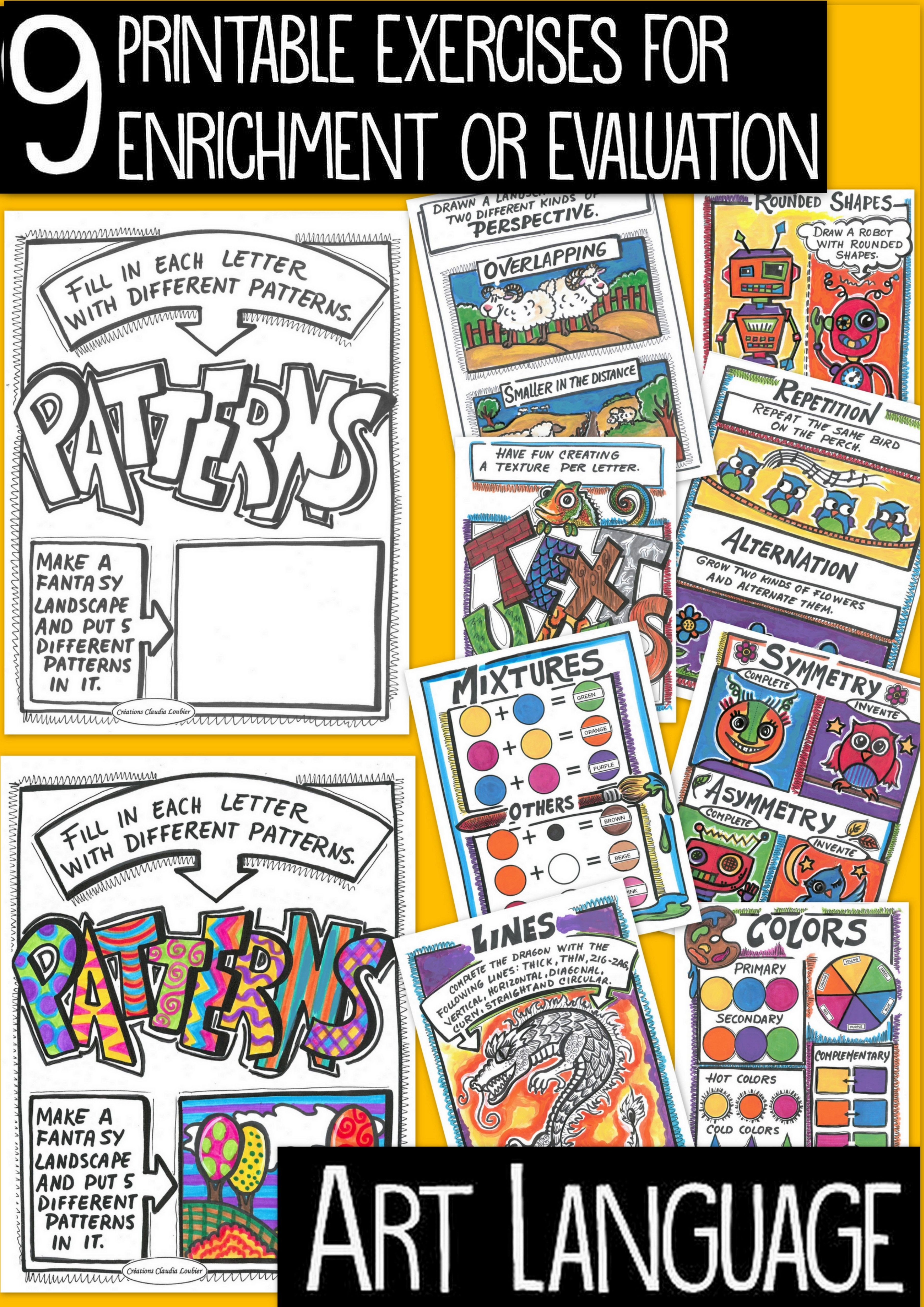 Here is a collection of 9 exercises, covering all of the ART language in primary school. 9 reproducible sheets for your students. Each of the sheets can help to teach the ART concepts. You can also use them for enrichment or evaluation. For each exercise, a coloured response-sheet is suggested. You courses will be complete and amusing.