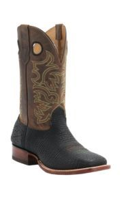 Cavender's Men's Black Shrunked Bull Hide Double Welt Square Toe Western Boots | Cavender's