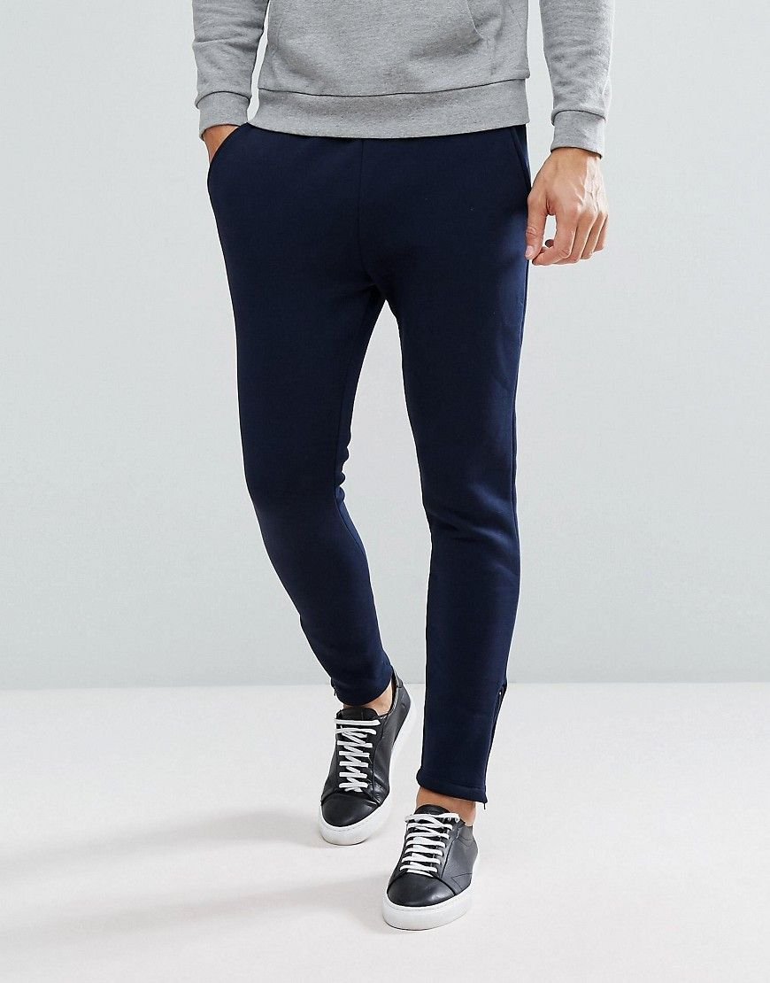 Selected Homme Slim Jogger With Ankle Zip Hem - Navy   Products ... cff34ae487a3