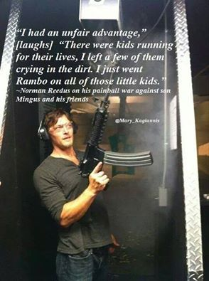 Norman on paintball war with his son and his friends