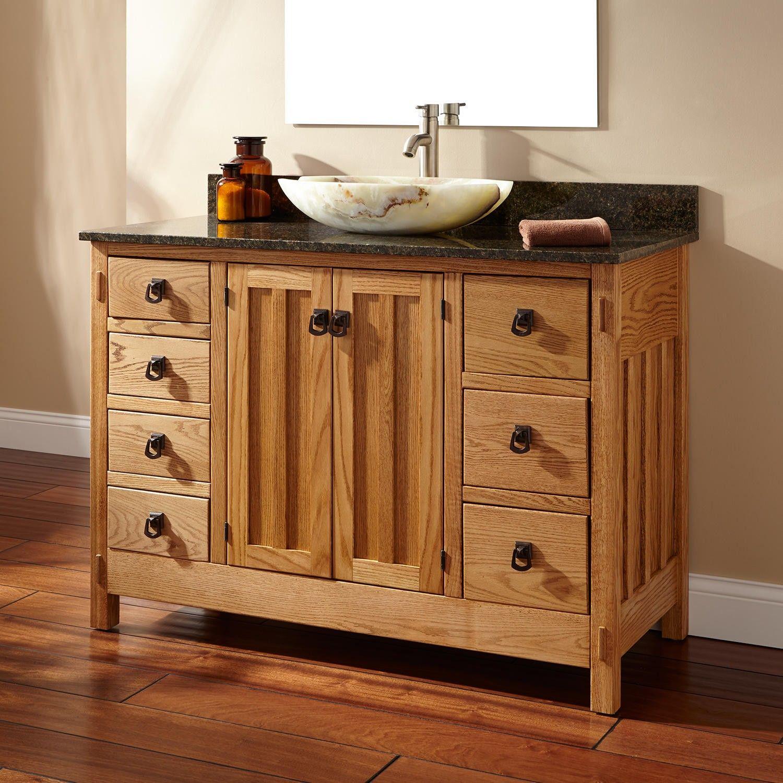 48 Mission Hardwood 7 Drawer Vessel Sink Vanity Wood Bathroom