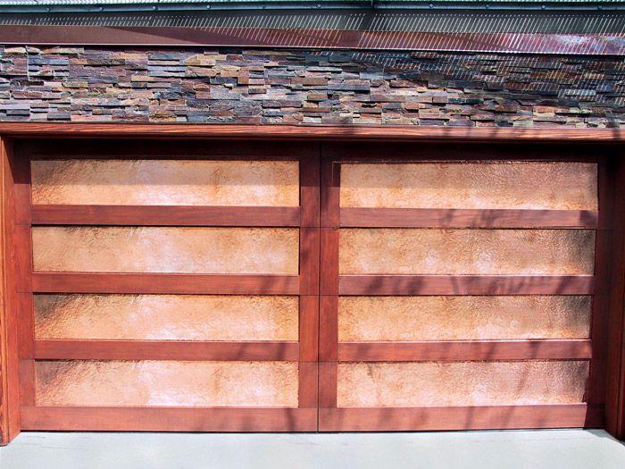 Copper And Wood Garage Door In San Diego Modern Garage Doors Wood Garage Doors Garage Doors