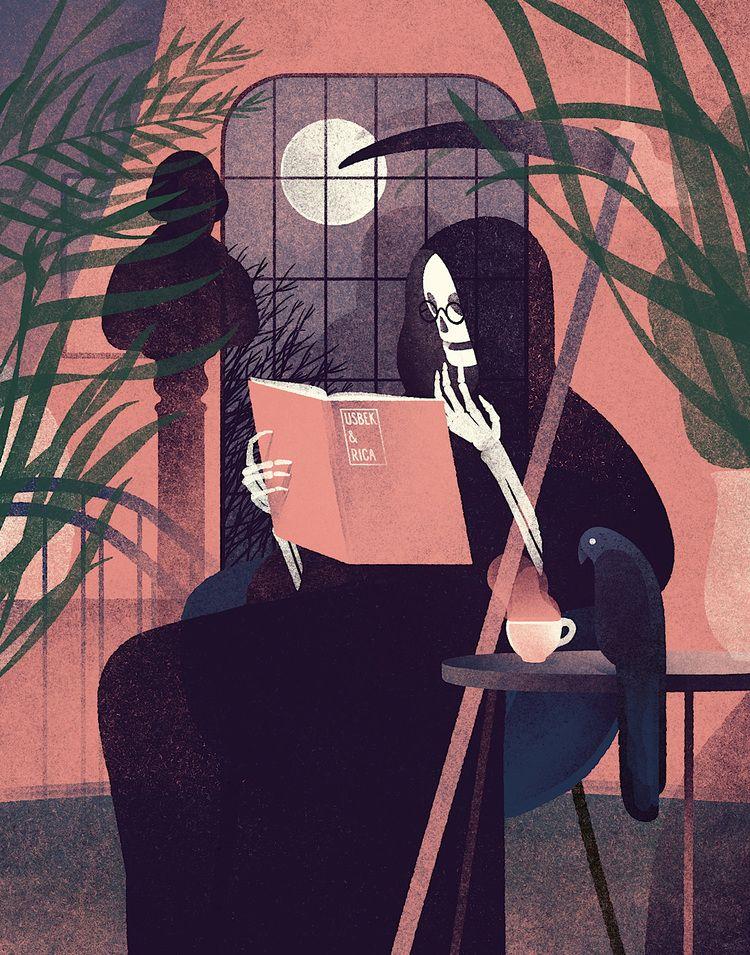 Mr. Death reading Usbek & Rica magazine.