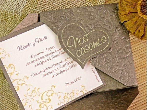 invitaciones de boda originales y elegantes en dorado - Buscar con - invitaciones para boda originales