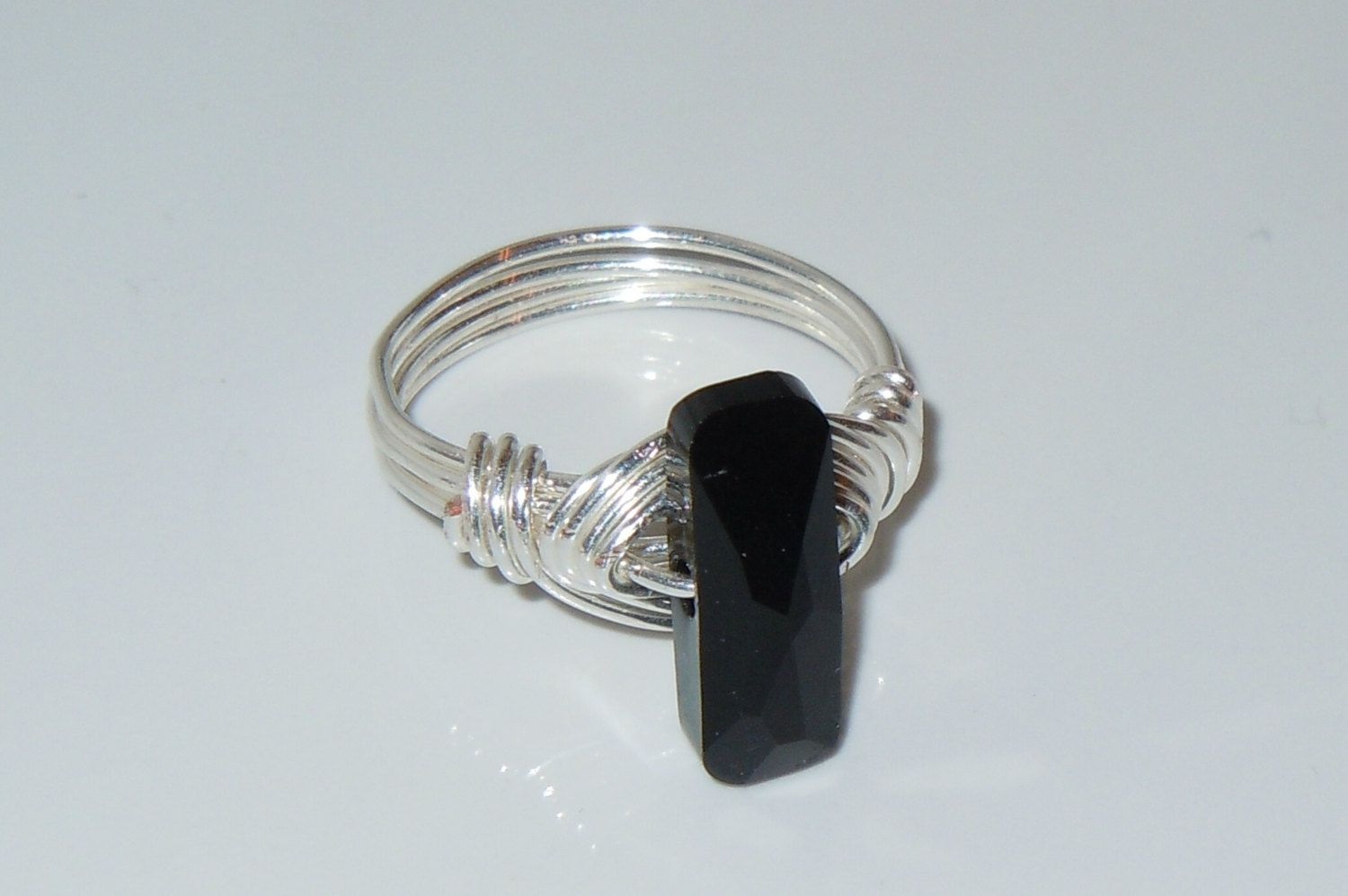 Wire Wrapped Ring with Jet Black Swarovski Crystal 14x5mm Column ...