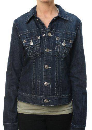 True Religion Women`s Trucker Jacket Jean Denim Jacket Navy Blue $187.98