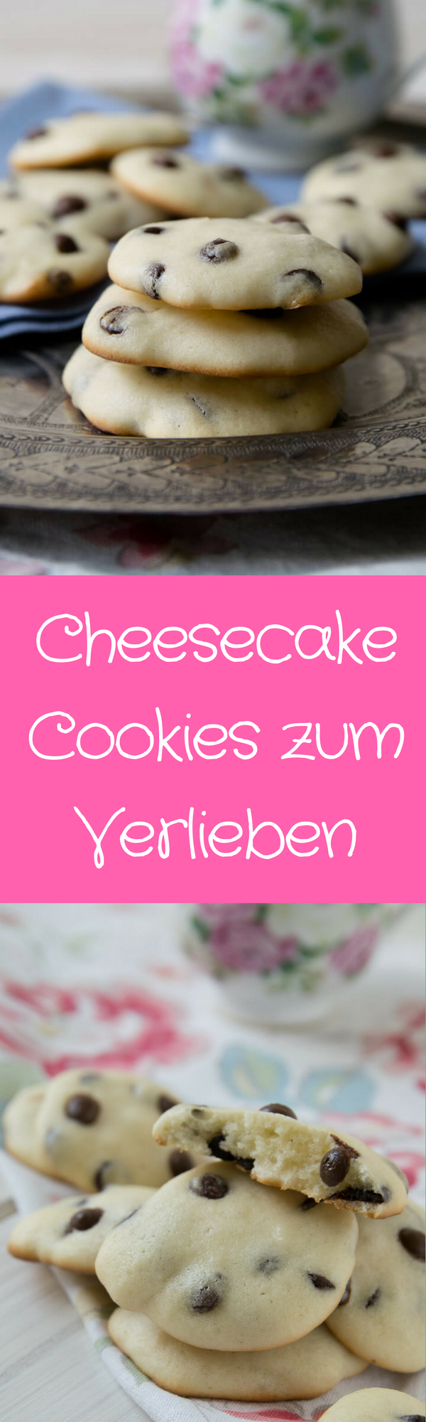 Cheesecake Cookies mit Chocolate Chips #cheesecake