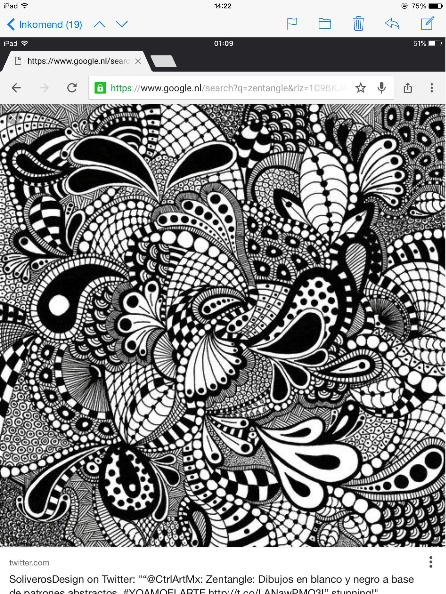 Voorbeeld Zentangle Patronen Zendoodle Patronen