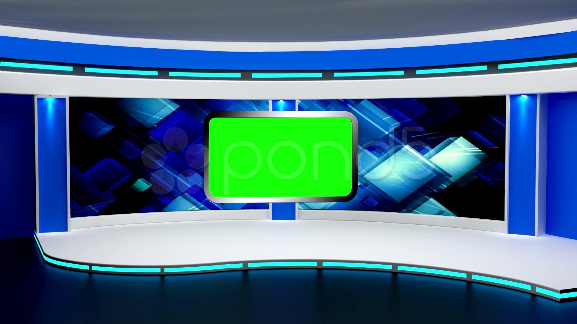 News TV Studio Set 03 Virtual Green Screen Background