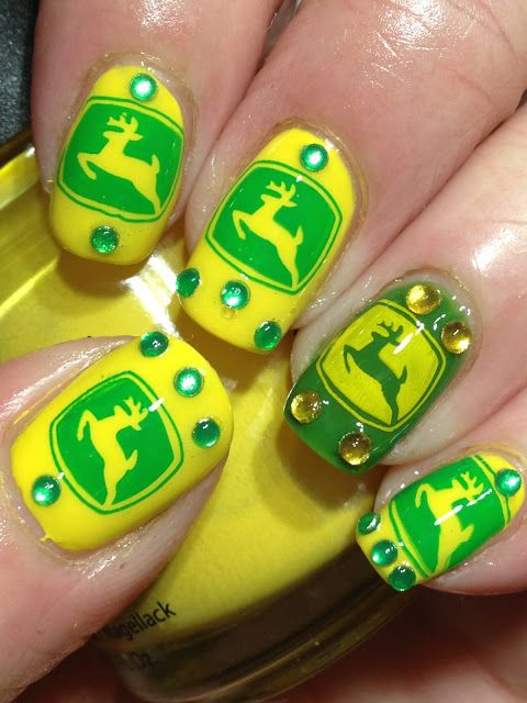John Deere nails. One of the most perfect nail designs for Iowa lol ...