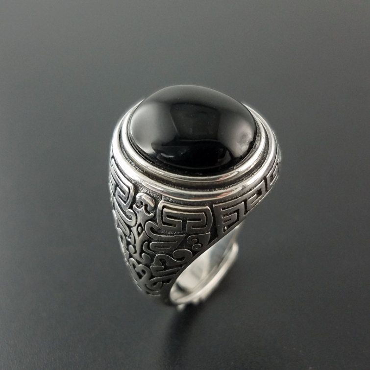 Solid Silver 925 Natural Black Onyx Stone Rings Men Vintage Oval ...