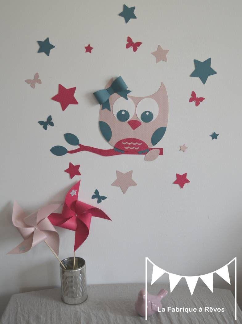 Stickers hibou et ses 16 toiles et papillons rose - Stickers papillon chambre bebe ...