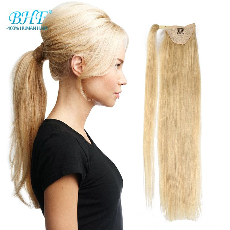 Real Hair Blond Ponytail Human Hair Ponytail Wrap Around Clip