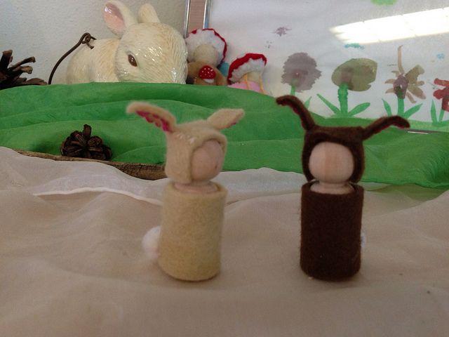 Spring Easter Bunny peg dolls