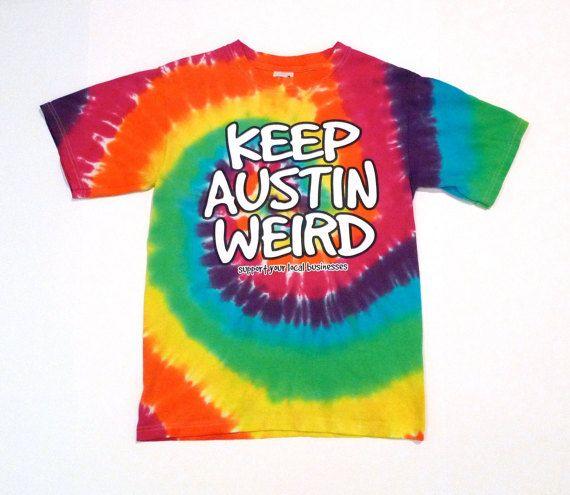 Keep Austin Weird Tie Dye Vintage T Shirt Size S One Sided