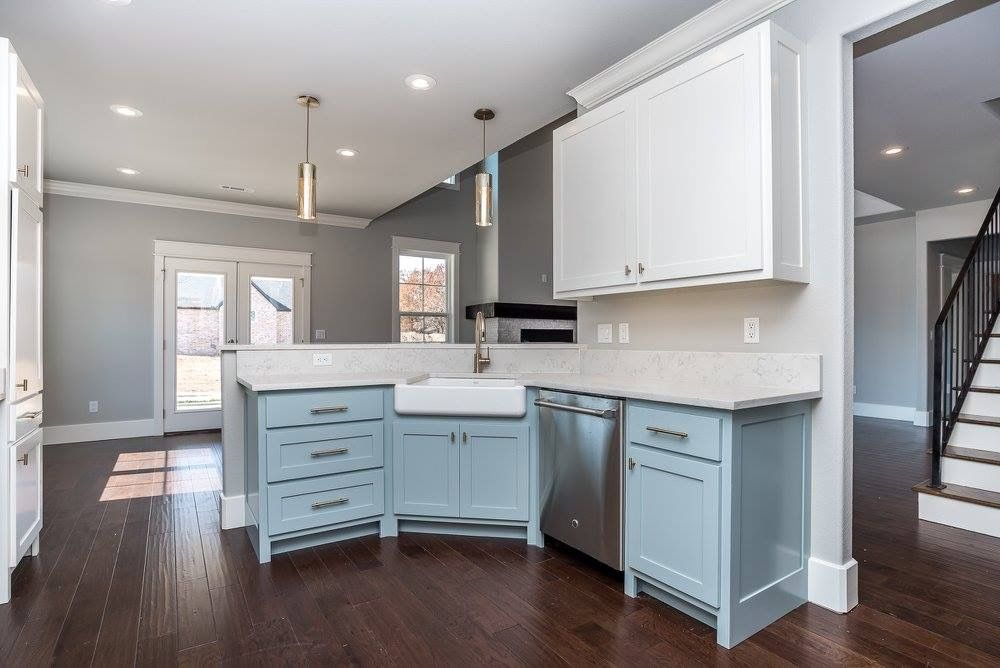 Benjamin Moore Wedgewood Gray Lower Cabinets With White Upper