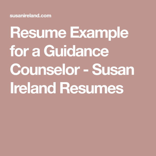 resume example for a guidance counselor