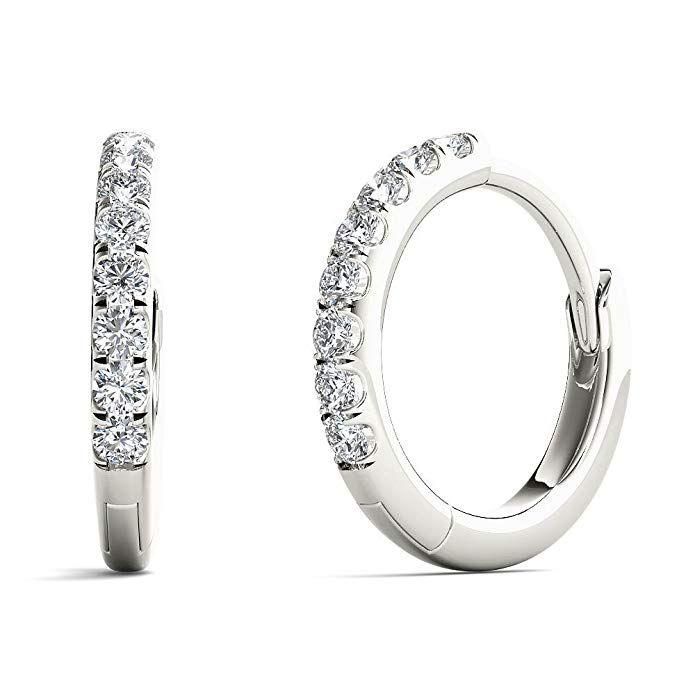 eaf3f7570 JewelAngel Women's 1/10 Carat TDW Diamond Charming Hoop Earrings (H-I,  I1-I2) Review