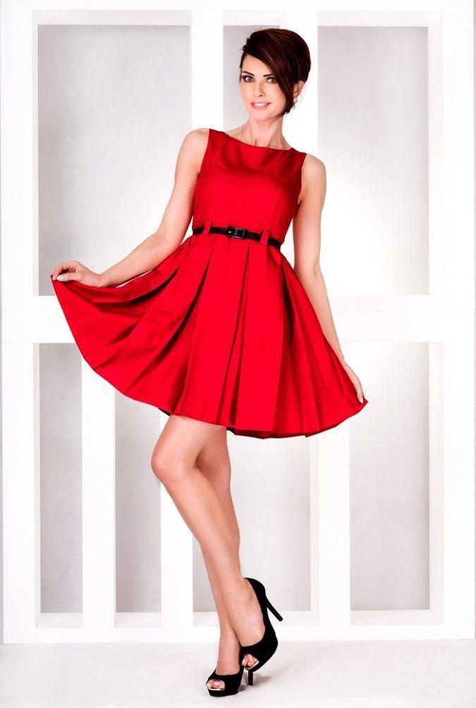 Numoco Rotes Kleid mit Gürtel Schönes Kleid in Rot mit schwarzem ...