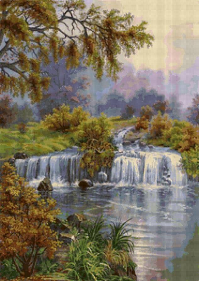 Водопад вышивка крестом схема скачать бесплатно фото 697