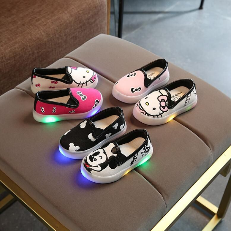 Kid S Light Up Cartoon Shoes Super Adorable Light Up Shoes For The Kids Options For Boys And Girls Available P Baby Boy Shoes Cartoon Shoes Led Shoes Girls