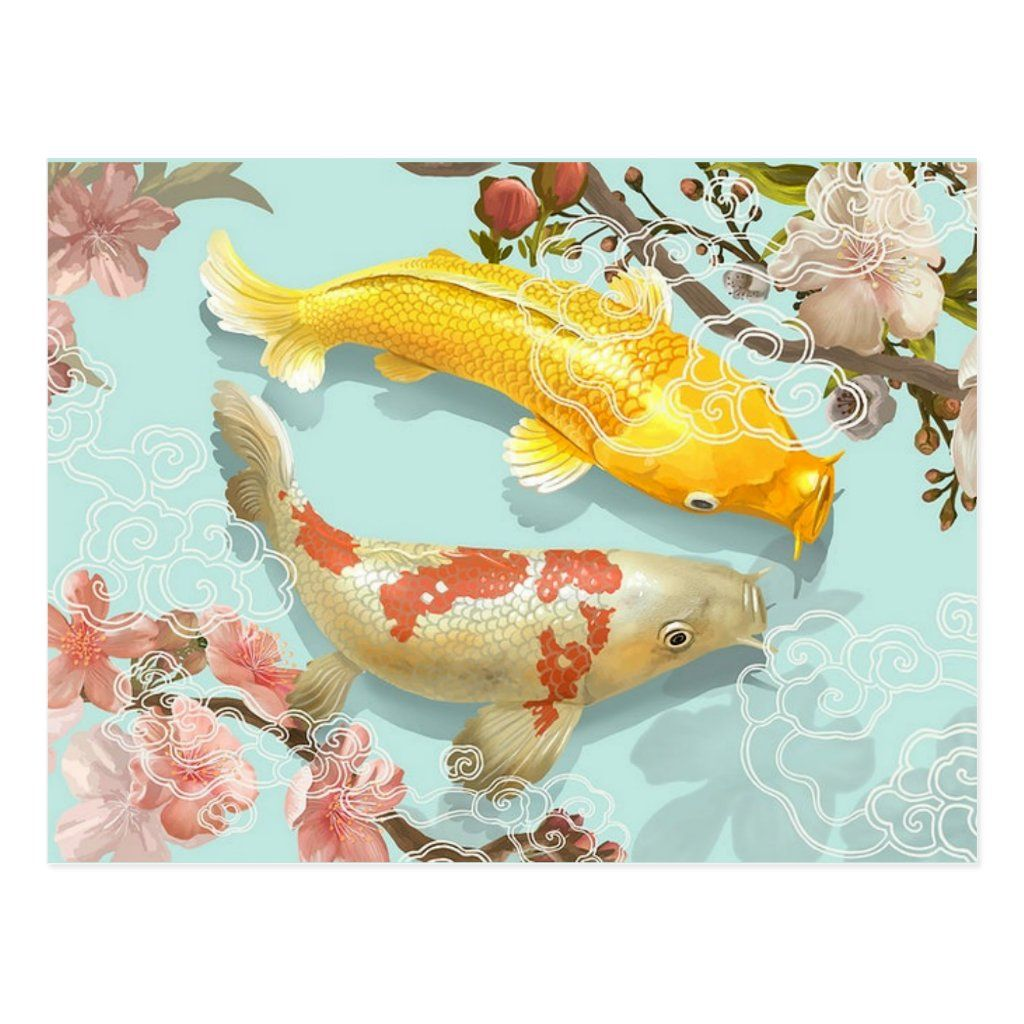 Koi fish Postcard with quote