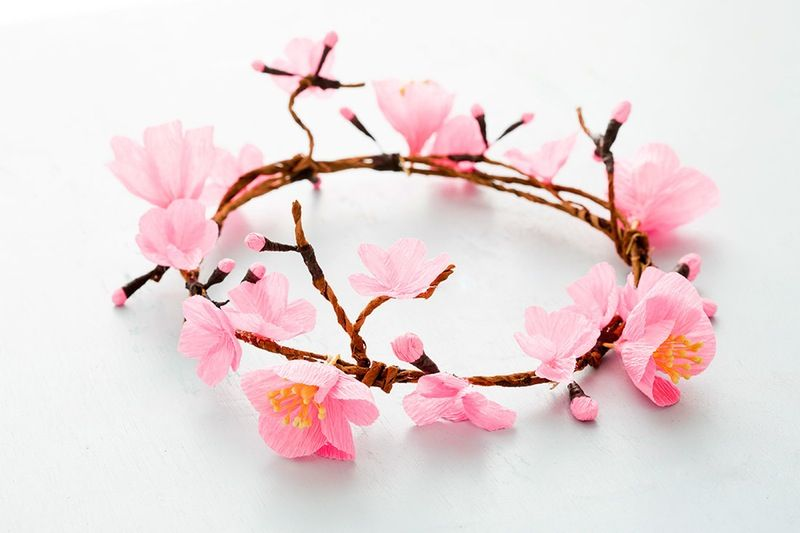 How To Make A Cherry Blossom Flower Crown Cherry Blossom Flowers Cherry Blossom Theme Cherry Blossom Party
