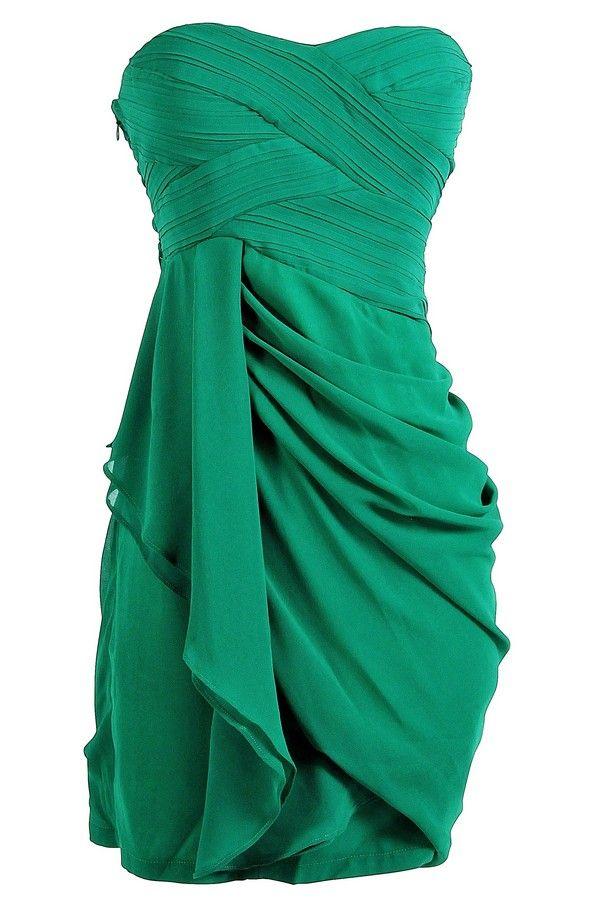 Draped Chiffon Dress in Green