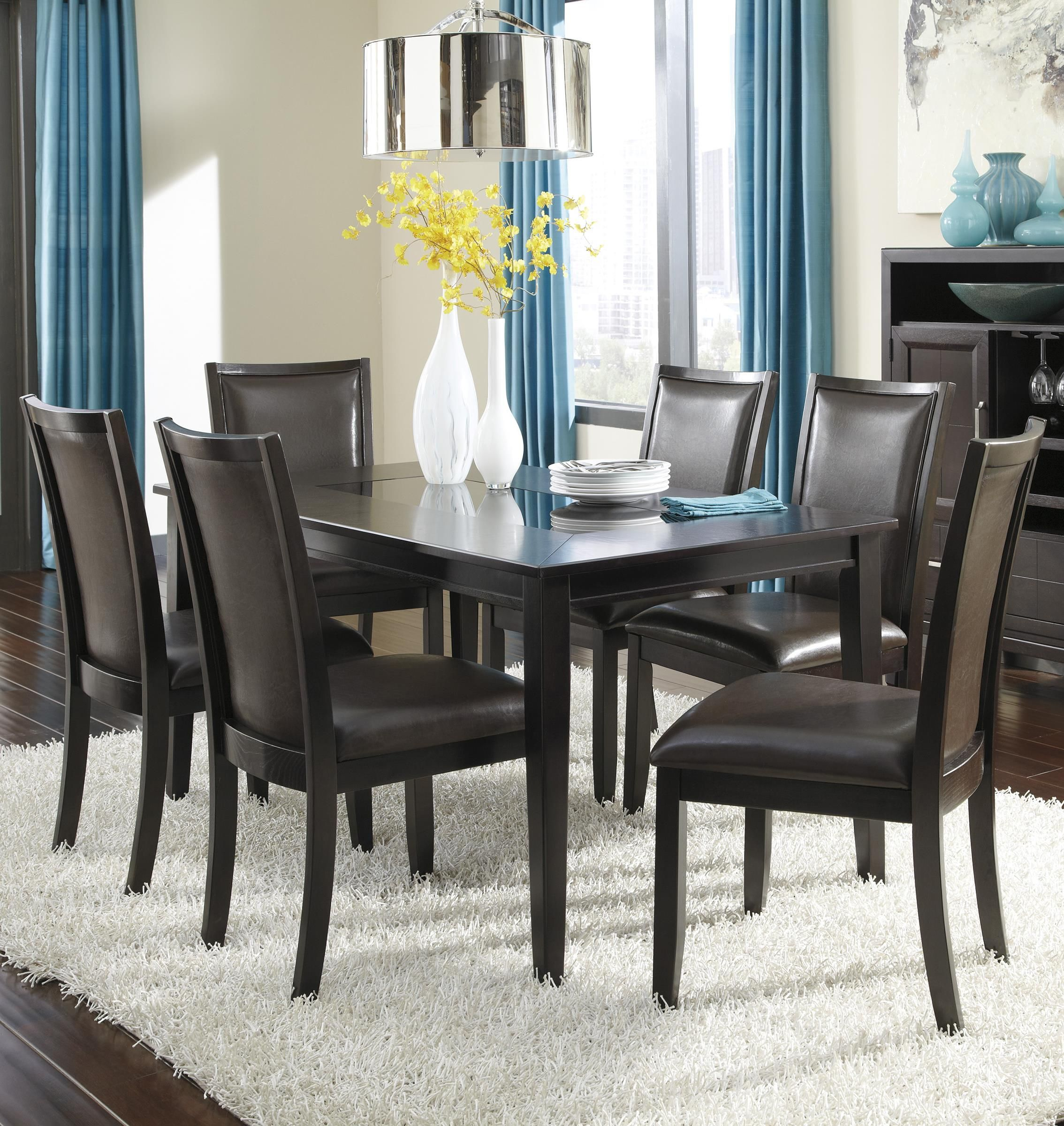 Trishelle 7 Piece Rectangular Dining Table Set With Brown Chairs