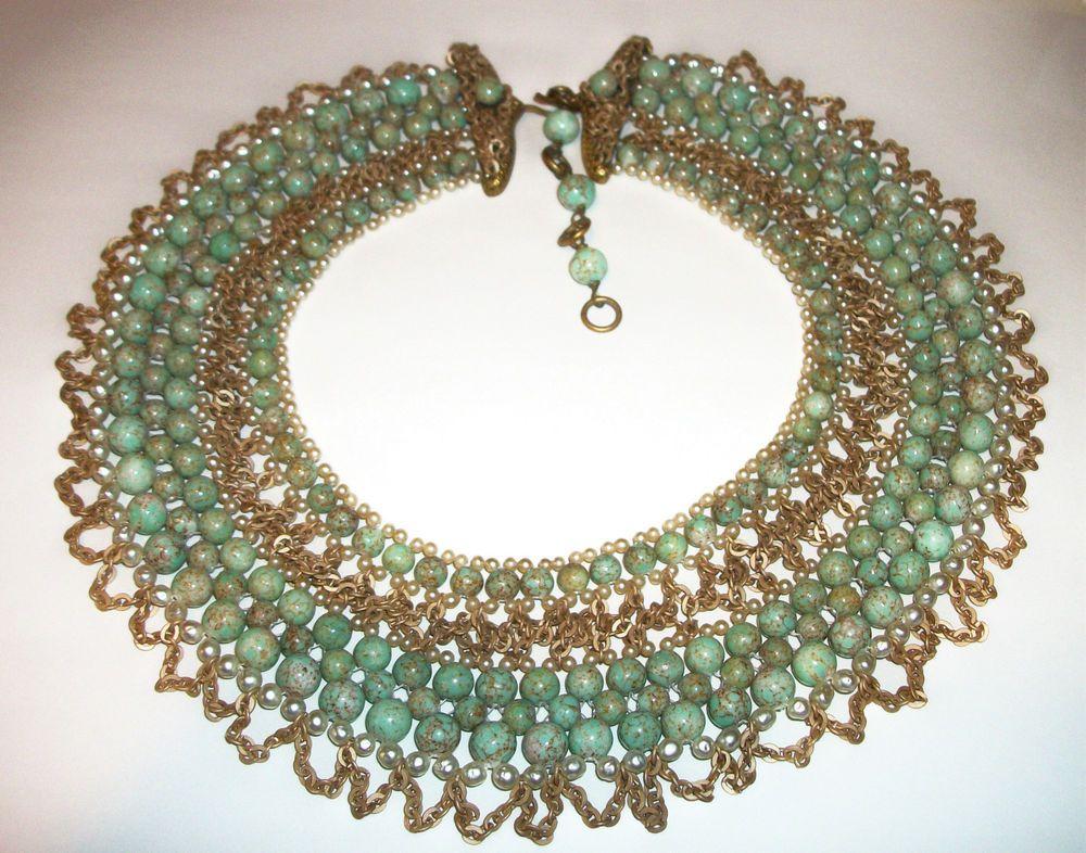DRAMATIC COPPOLA E TOPPO FauxTurquoise&Pearl Glass Vtg CLEOPATRA Collar Necklace #CoppolaeToppo #Collar