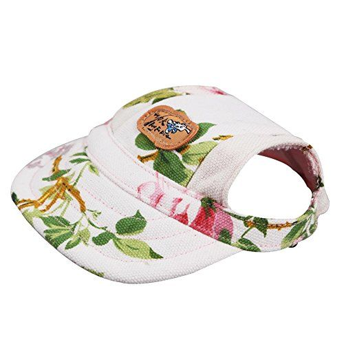 95e6b65a451 Mingus Pet Dog Canvas Hat Sun Protective Visors Sports Baseball Cap with  Ear Holes for Pet Dog Puppy Flower Small -- You can get additional details  at the ...