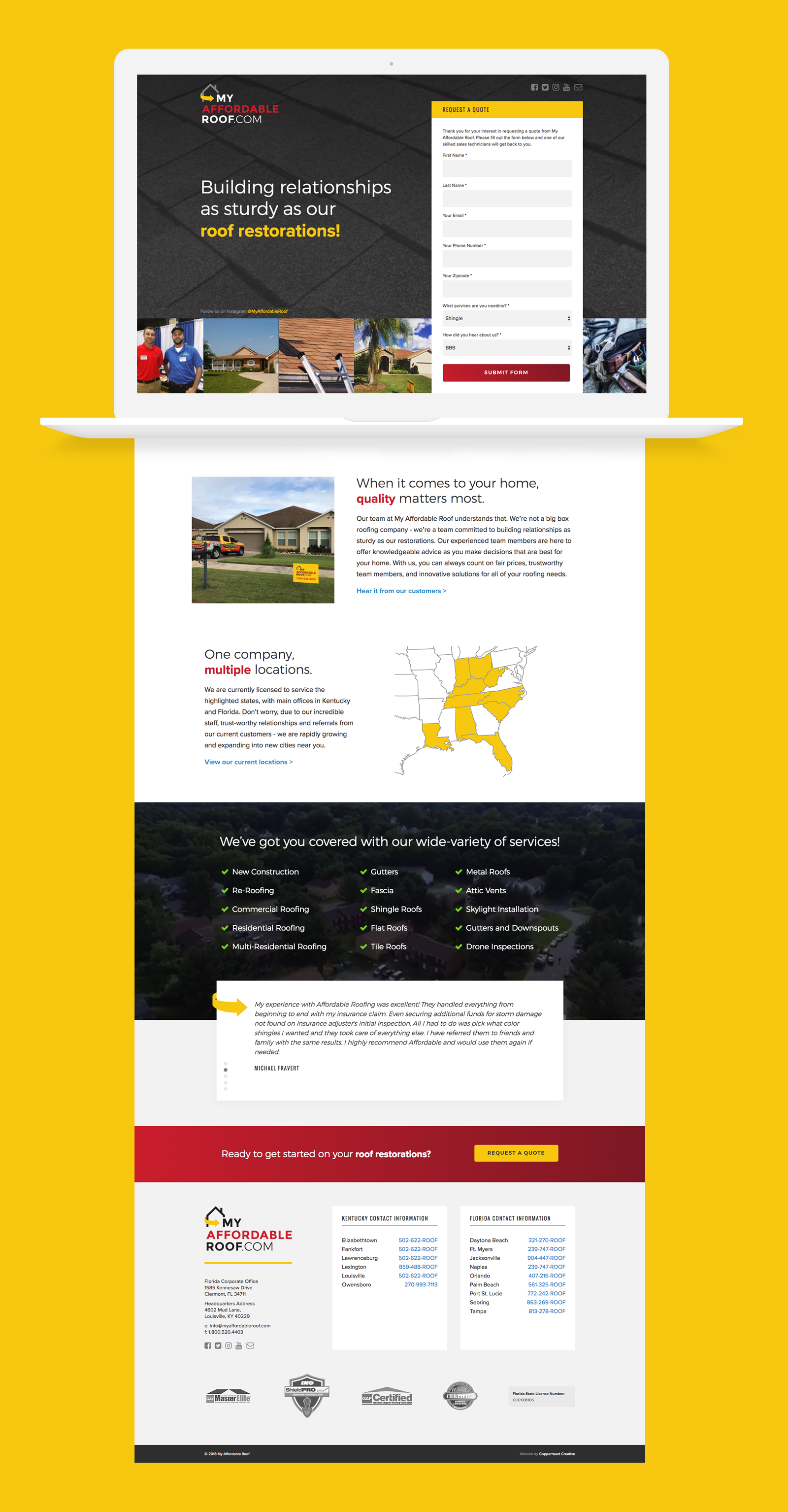 My Affordable Roof Copperheart Creative Roofing Website Modern Lead Generation Website Roof Construc Roof Restoration Company Logo Design Unique Layout
