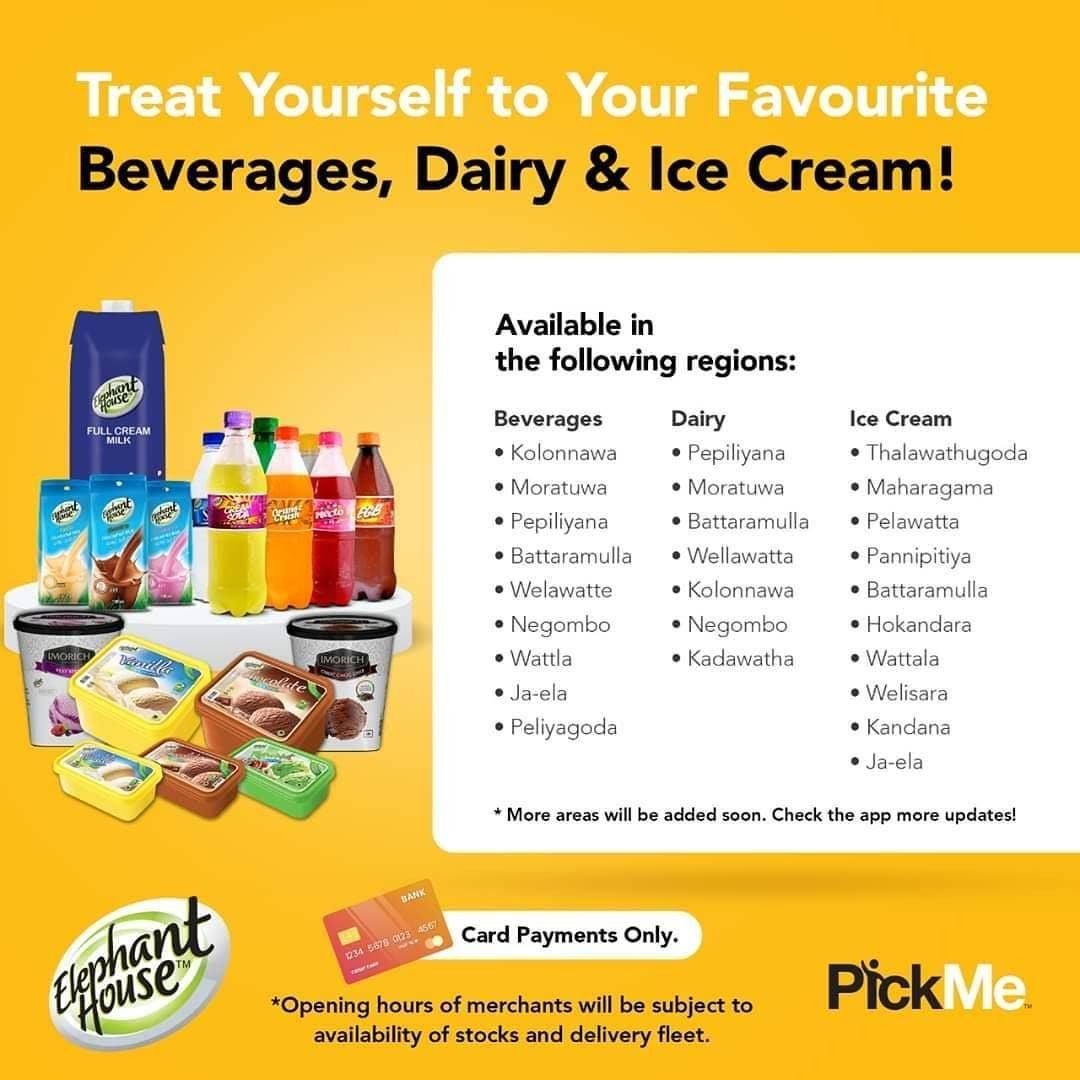 Elephant House Is On Pickme Now Satisfy Your Cravings For Beverages Dairy Ice Cream With Elephant House Products Del Beverages Hygiene Practices Ice Cream