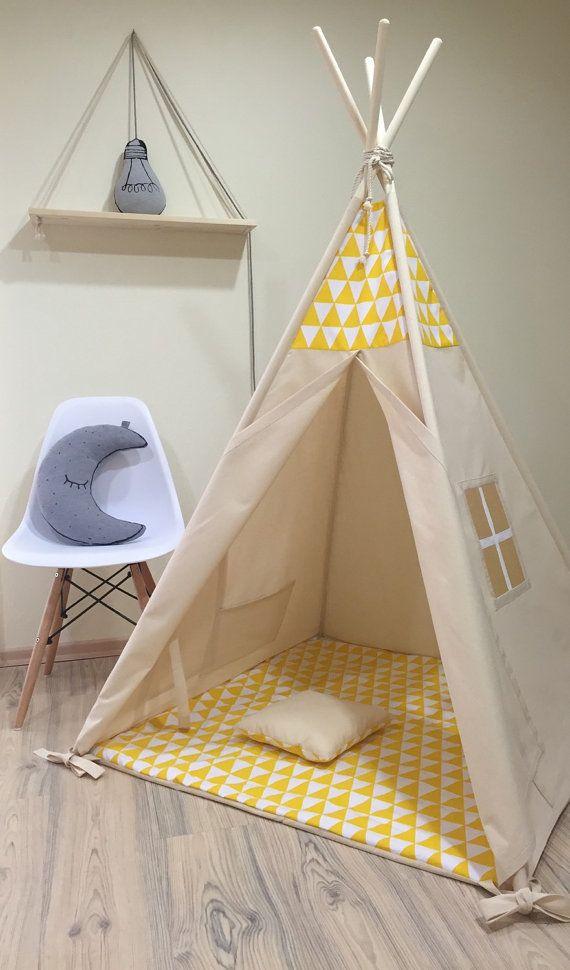 Kids Nursery Teepee Cotton House Yellow Triangles Tent Etsy Kid Beds Teepee Kids Teepee