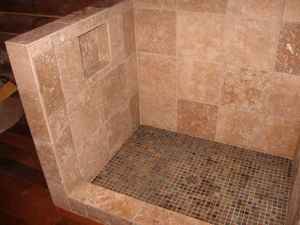 Small tile slate floor travertine bathroom and shower small tile slate floor doublecrazyfo Choice Image
